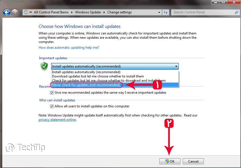 غیرفعال کردن آپدیت خودکار ویندوز 7