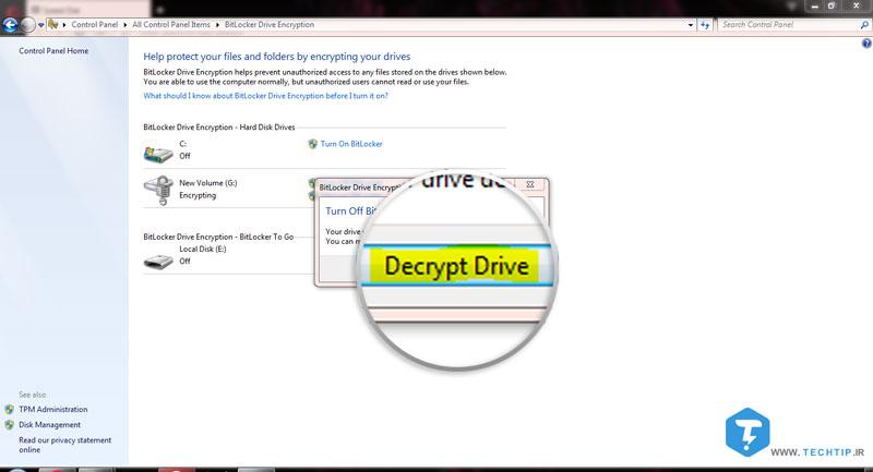 آموزش غیرفعال کردن Bitlocker و Decrypt کردن درایو | تک تیپ