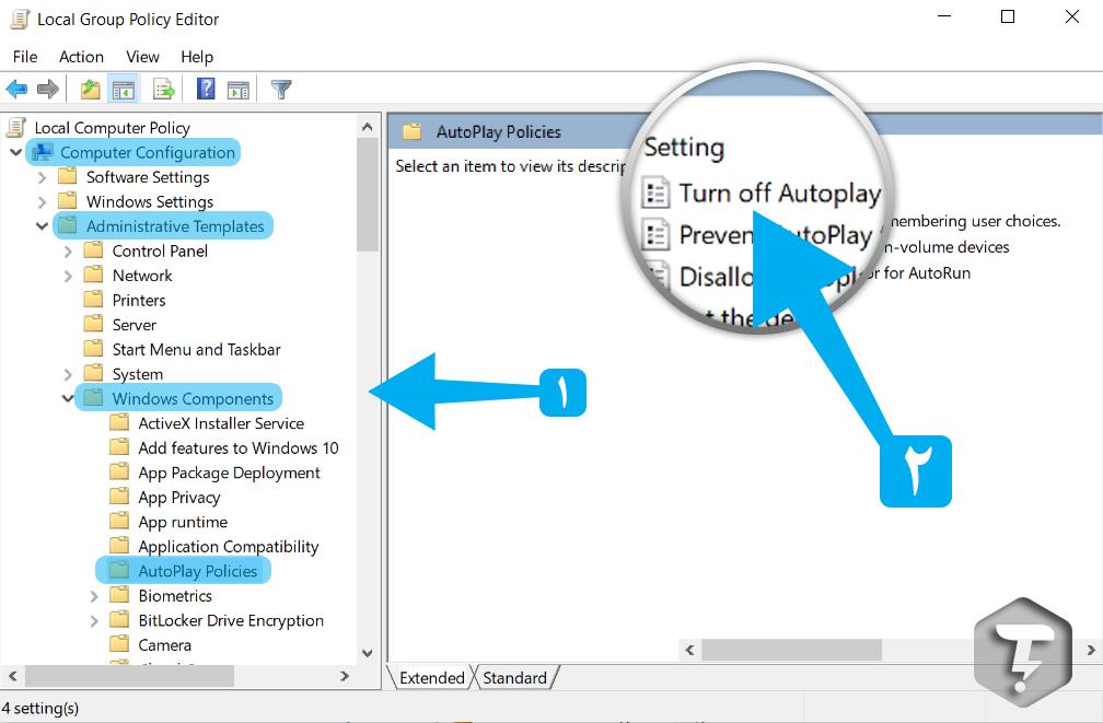 آموزش غیرفعال کردن AutoPlay از Group Policy