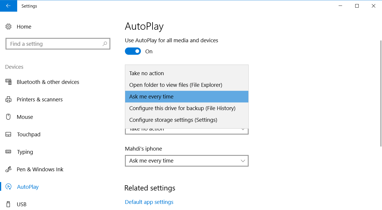 آموزش شخصی سازی اتوپلی AutoPlay در ویندوز 10