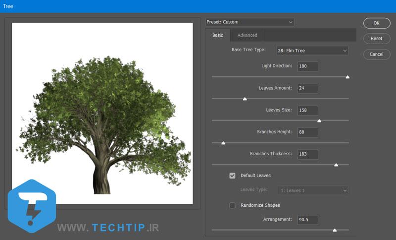 اضافه کردن درخت در فتوشاپ