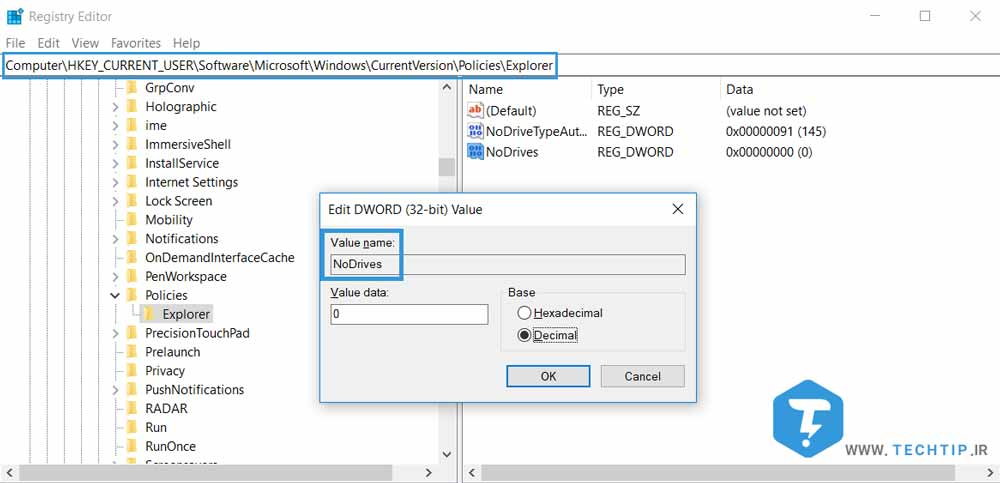 مخفی کردن درایو از فایل اکسپلورر