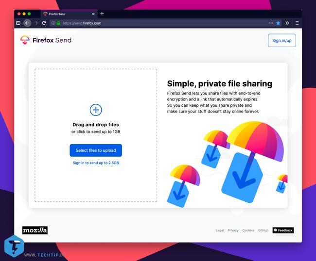 سرویس آپلود فایل و ابری Mozilla Firefox