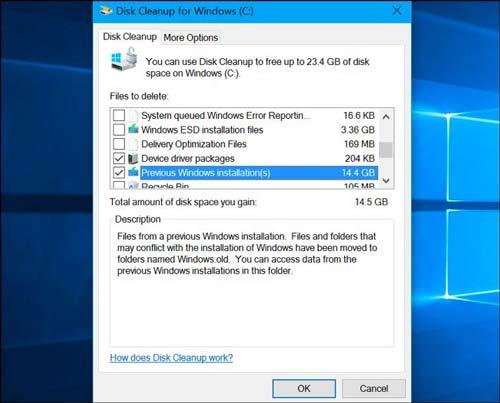 آموزش پاک کردن فولدرWindows.old با برنامه Disk Cleanup