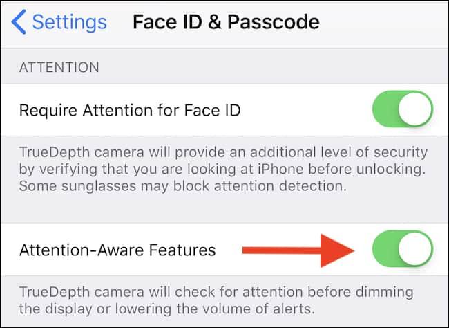 غیرفعال کردن قابلیتAttention Detection در آیفون