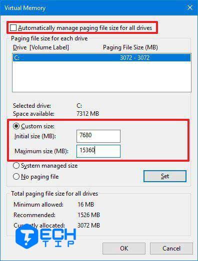 افزایش حجم فایل های پیچینگ
