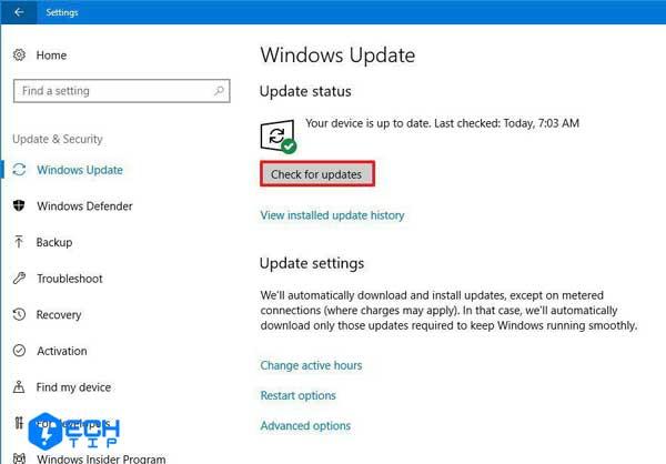 آخرین بروز رسانی ویندوز را نصب کنید