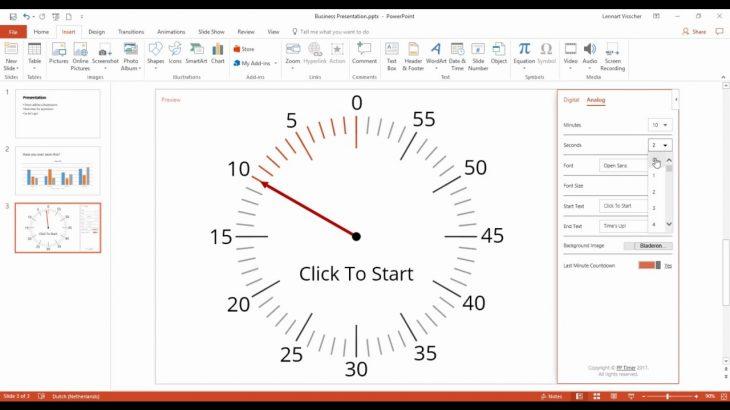 clock in powerpoint