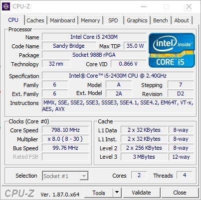 مشخصات CPU در cpu-z