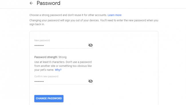تغییر رمز gmail حساب google