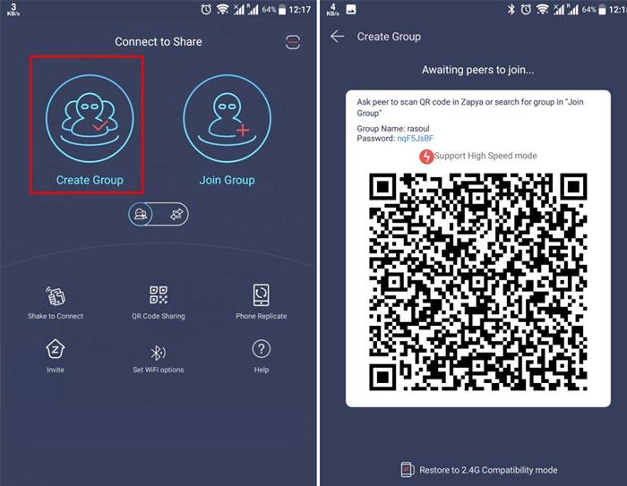 آموزش وصل شدن گوشی ها در زاپیا با کد QR