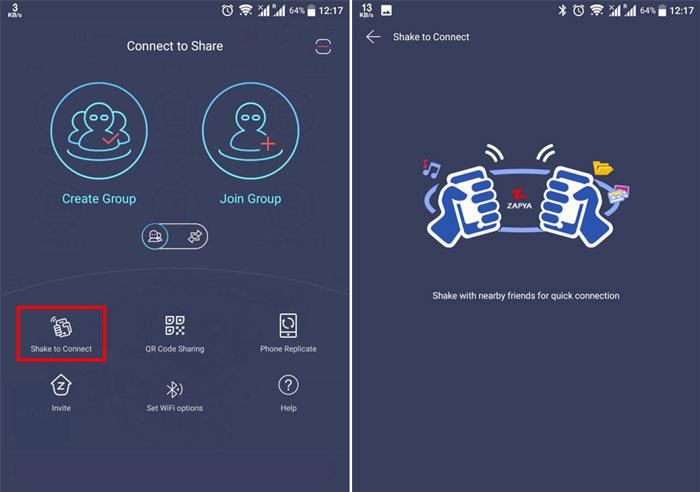 آموزش وصل شدن گوشی ها در زاپیا با تکان دادن دستگاه ها