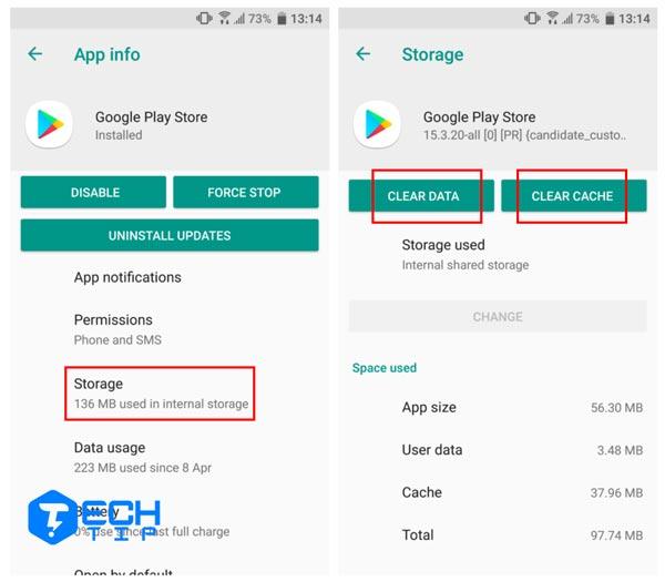 حافظه نهان برنامه Google Play را پاک کنید