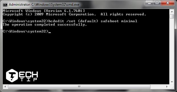استفاده از Command Prompt برای safe mode در ویندوز