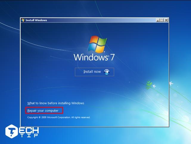از CD نصب ویندوز 7 برای رفتن به Safe Mode استفاده کنید