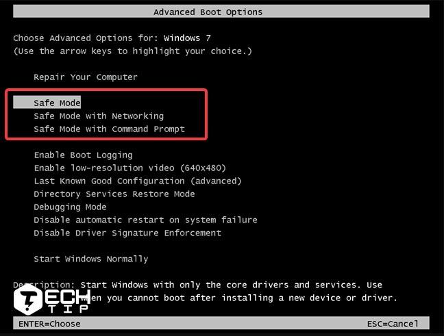 1. کلید F8 را برای Safe mode در هنگام بوت ویندوز 7 و 10 فشار دهید