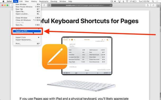 سیو کردن سایت به pdf در سیستم عامل مک