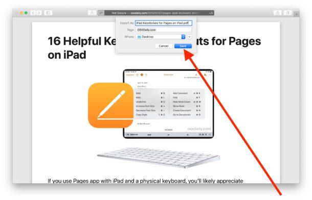 سیو کردن سایت به pdf در سافاری