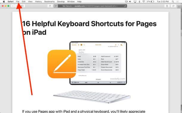 سیو کردن سایت به pdf در مک با استفاده از Safari