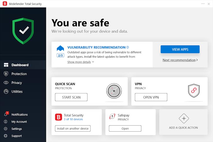 3. آنتی ویروس Bitdefender Total Security
