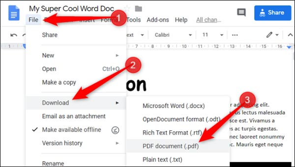تبدیل فایل های ورد به PDF با Google Docs