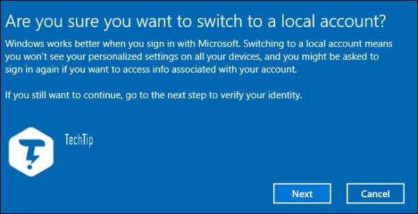 از حساب مایکروسافت به یک حساب محلی تغییر دهید
