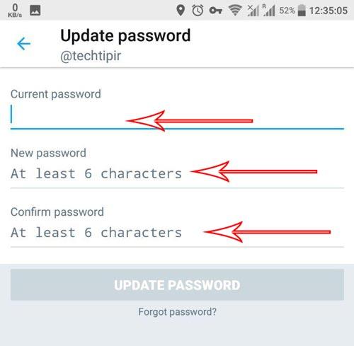 اموزش عوض کردن رمز اکانت توییتر