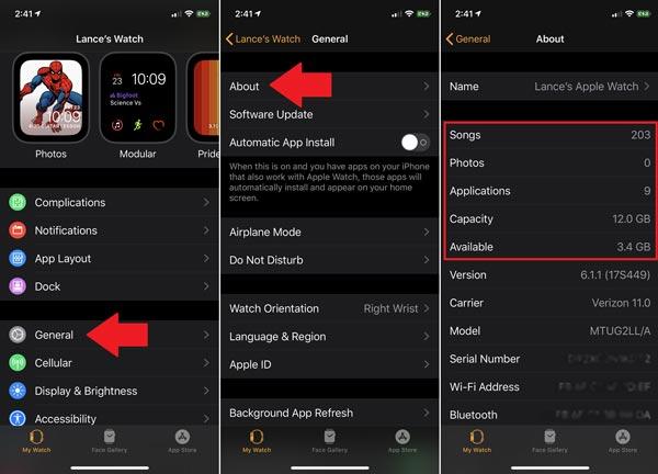 حافظه خالی اپل واچ را در برنامه گوشی مشاهده کنید