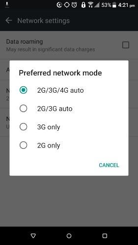 4- بررسی کنید که از حالت درست شبکه استفاده می کنید