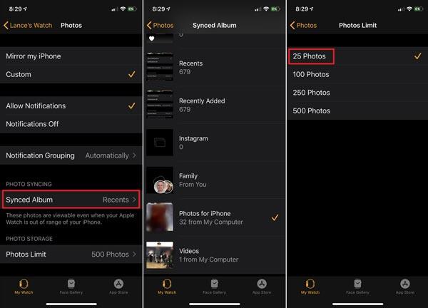 تنظیم مجدد عکس های اپل واچ در آیفون یا آیپد
