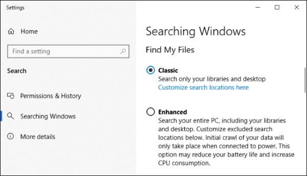 5- جستجوی سریعتر ویندوز 10