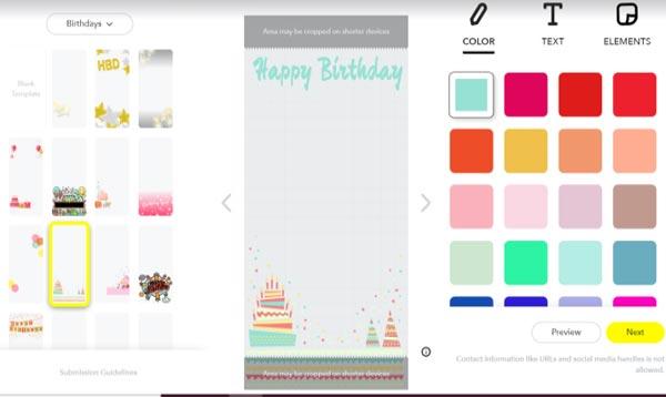 برای ساختن فیلتر اسنپ چت یک طرح را انتخاب کنید