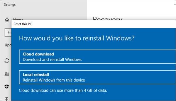 3- دانلود ابری برای نصب مجدد ویندوز