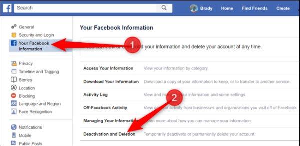 نحوه غیرفعال کردن اکانت فیسبوک