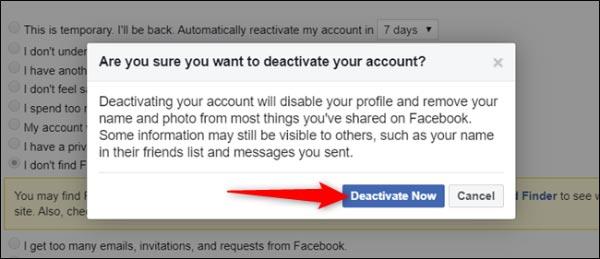 آموزش غیرفعال کردن حساب فیسبوک