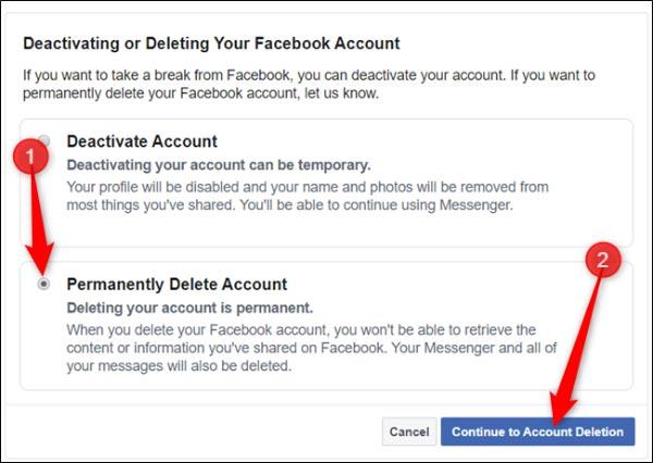 آموزش دیلیت اکانت فیسبوک یا حذف اکانت فیسبوک