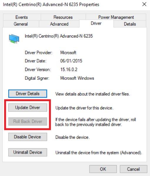 مشکل درایور وای فای ویندوز 10