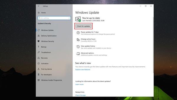 حل مشکل سرچ ویندوز 10 با استفاده از آپدیت کردن ویندوز