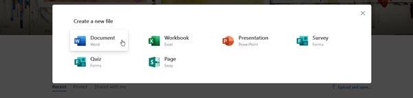 ایجاد فایل جدید در مایکروسافت آفیس