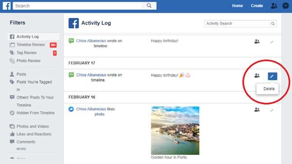 آموزش حذف کردن پست در فیسبوک