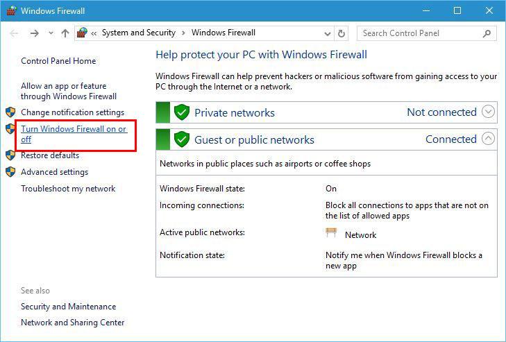 فایروال ویندوز را غیرفعال کنید