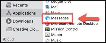غیرفعال کردن برنامه پیام در مک