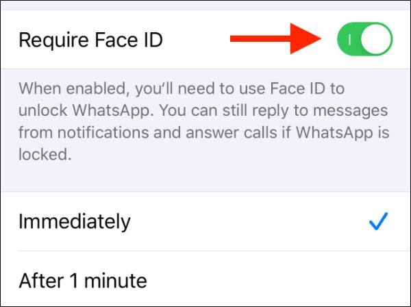 برای امن کردن واتساپ اثر انگشت یا Face ID Lock را فعال کنید