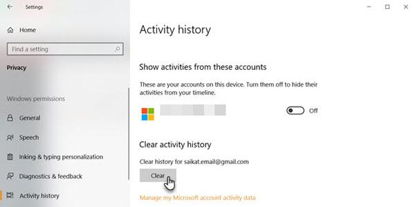 1- پاک کردن هیستوری ویندوز 10 از تنظیمات