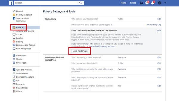 محدود کردن پست های گذشته فیسبوک