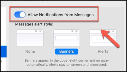 خاموش کردن اعلان های برنامه پیام در مک