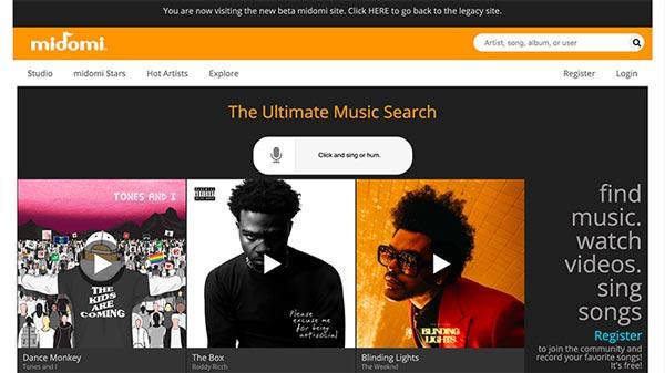 1- سایت Midomi برای پیدا کردن آهنگ به صورت آنلاین