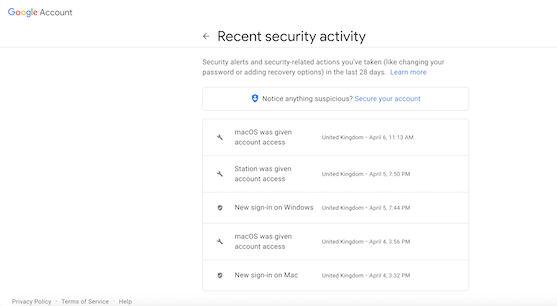 فعالیت امنیتی اخیر را ارزیابی کنید