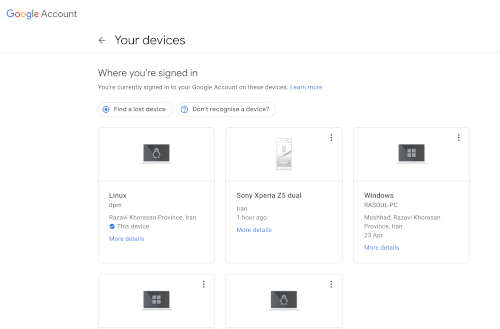 دستگاه های متصل به حساب گوگل را بررسی کنید