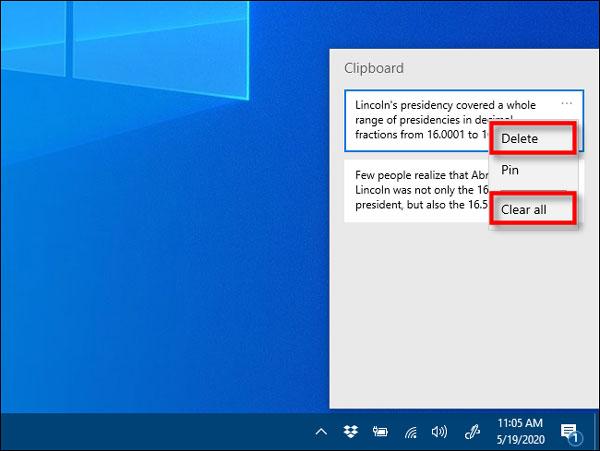 مشاهده متن های کپی شده در ویندوز 10